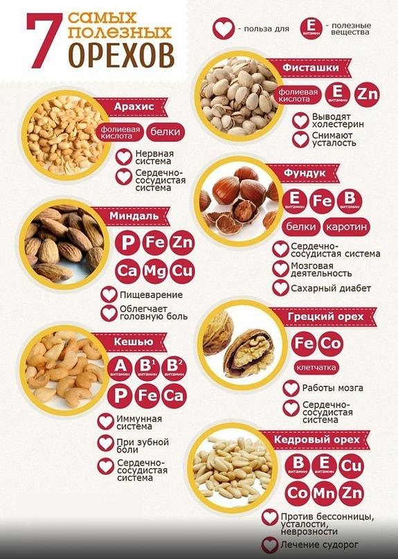 Таблица калорийности орехов