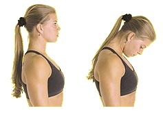 Опустите голову вниз, напрягая мышцы шеи